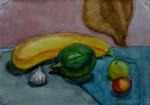 Катя Фантугина 12 лет. Этюд натюрморта с овощами и фруктами