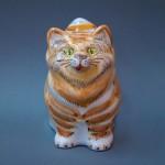 Большой кот. Ручная роспись, майолика. Высота 15 см., ширина 10 см.