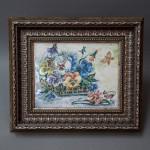 Плакетка декоративная - Корзинка с цветами. Майолика, ручная роспись. Высота см., ширина см.