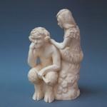 Стилизованная скульптура-Фавн и Нимфа. Мелкая пластика, белая глина. Высота см., ширина см.