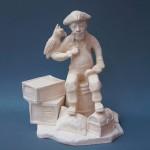Стилизованная скульптура- Пират. Мелкая пластика, белая глина. Высота см., ширина см.