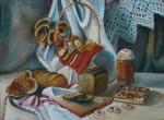 Федотычева Элина, натюрморт с хлебом, 30х40, картон, масло.Преп.Горичева В.С.